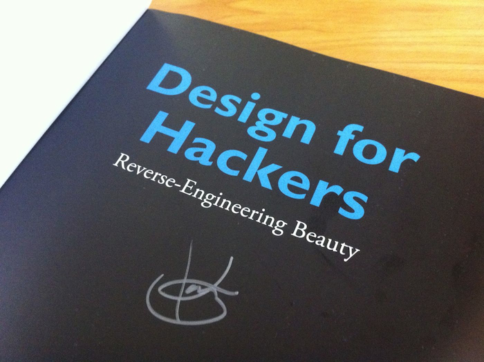David Kadavy's autograph on the first page of Design for Hackers.